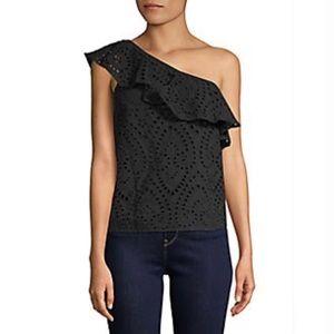Design 365 Eyelet One Shoulder Cotton Top in Onyx